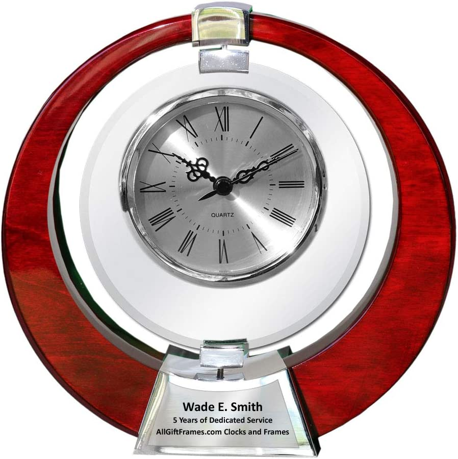 Saturn Cherry Wood Clock Glass Swivel Engraved Table Desk Clock Retirement Gift Anniversary Employee Recognition 360 Degree Spinning Glass Appreciation Service Award Wedding