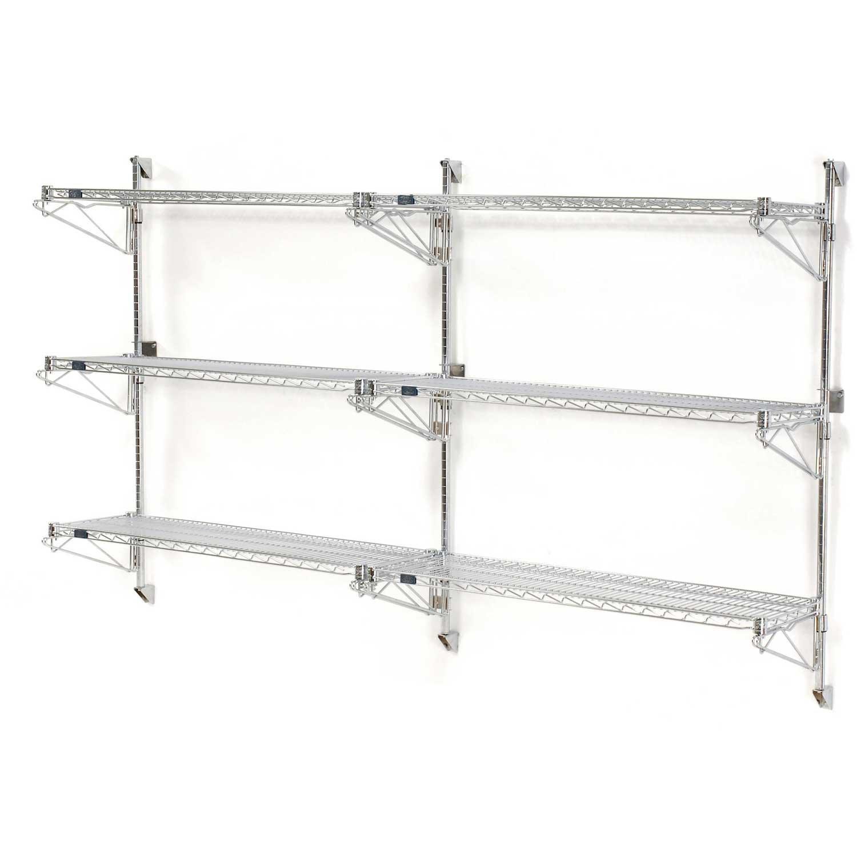 Nexel Wall Mount Wire 3-Shelf Add-On Unit, 24