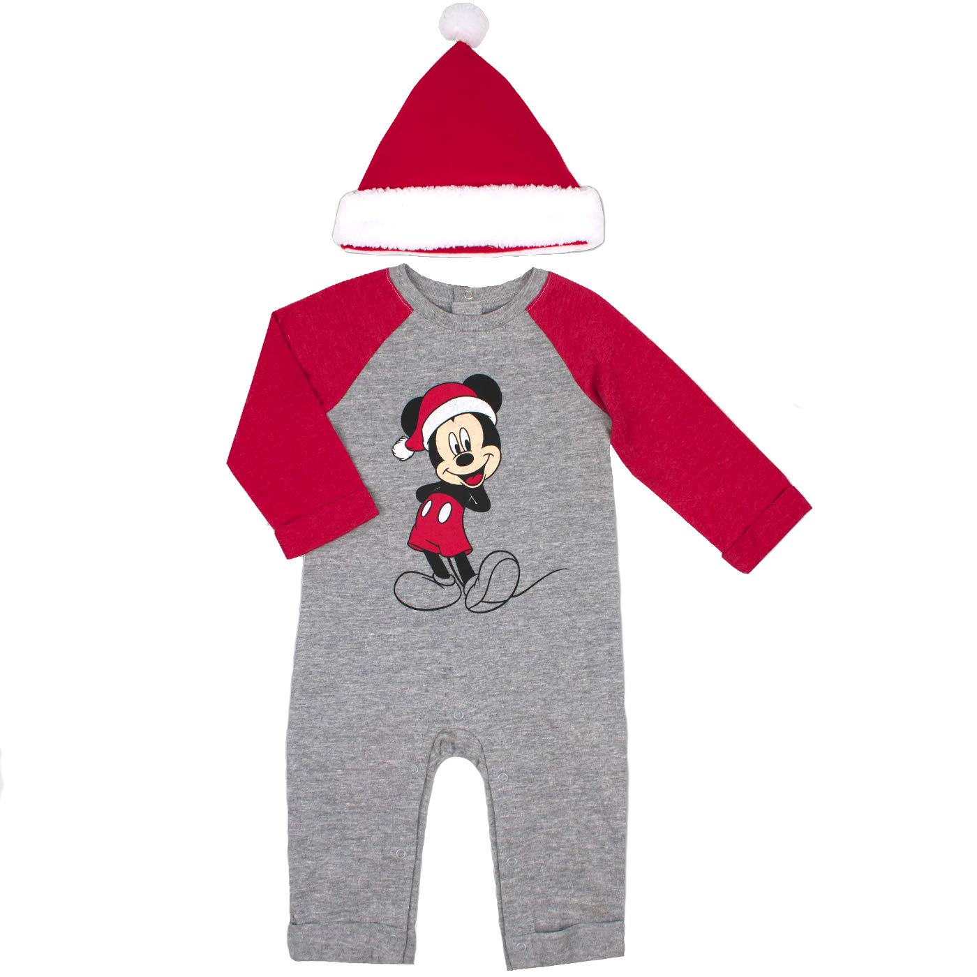 Disney Mickey Mouse Baby Boys 2 Piece Romper and Santa Hat Set