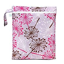 Bumkins Waterproof Zippered Wet/Dry Bag, Purple Dandelion