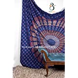 Tapestry Queen Dark blue mandala Tapestries Beach Sheet Indian wall Hanging Queen Mandala BedSpread Dorm Decor 92x82