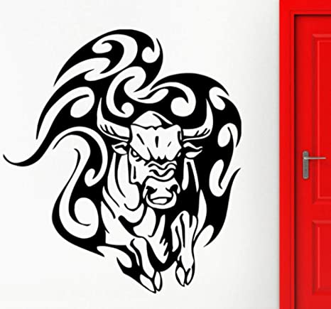 Toro Pegatinas de Pared Animal Taurina Tatuaje Tribal Calcomanía de Vinilo Vaca enojada Pared de la