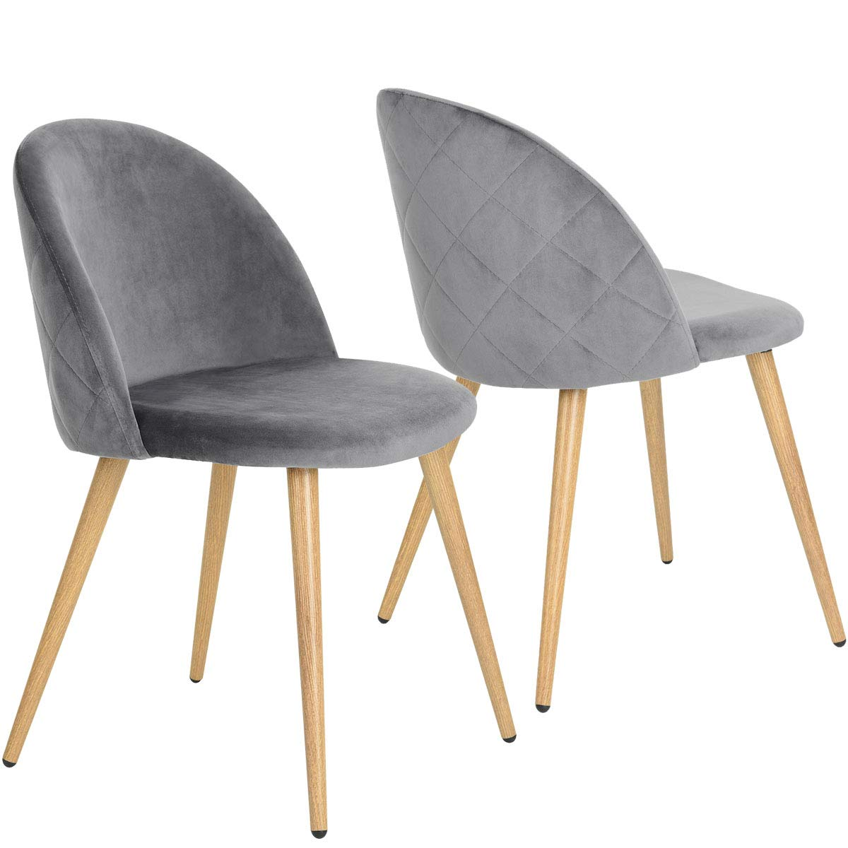 Coavas Dining Chairs Soft Velvet Kitchen Chairs Living Room Lounge Leisure Chairs with Wooden Style Metal Legs for Dining Room and Bedroom Set of 2 Grey  sc 1 st  Amazon UK & Coavas Dining Chairs Soft Velvet Kitchen Chairs Living Room Lounge ...