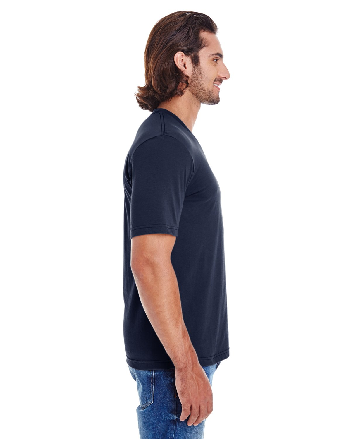 American Apparel 24321W Unisex Fine Jersey Short Sleeve Classic V-Neck Navy S by American Apparel (Image #2)