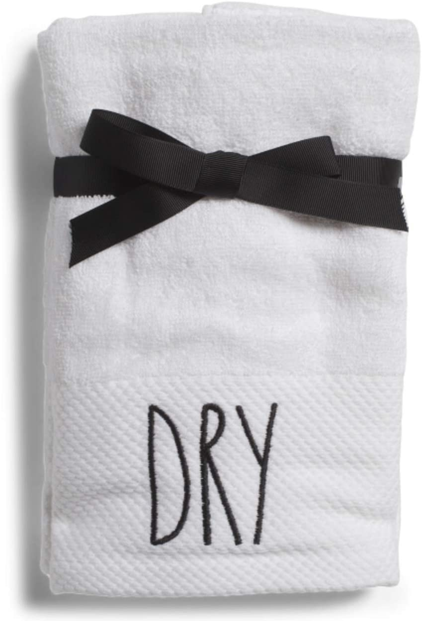 Rae Dunn Home Dry Hand Towels White with Black Lettering Set of 2 Cotton