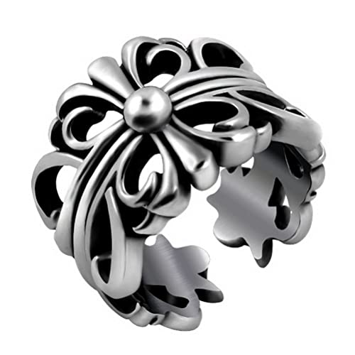 13b696ade1a Image Unavailable. Image not available for. Color  Stainless Steel Mens  Women s Jewelry Retro Casting Gothic Punk Stainless Steel Cross Chrome  Hearts Rings