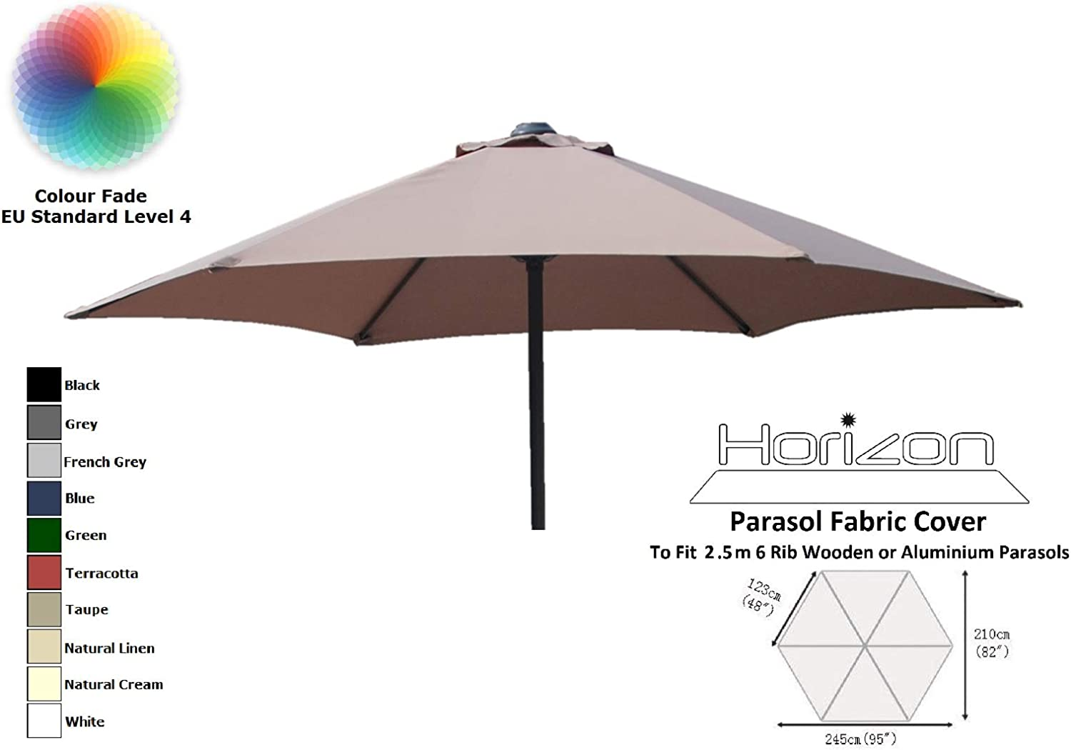 TFS Replacement Parasol Fabric Canopy for Standard Cantilever /& Balcony Parasols 2.5m 6arm, Green