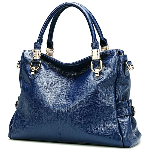 Capacity Top Ladies' Shoulder Tote handle Vintage Genuine Large AINIMOER Handbags Bag Crossbody Womens Blue Purse Leather wqT770