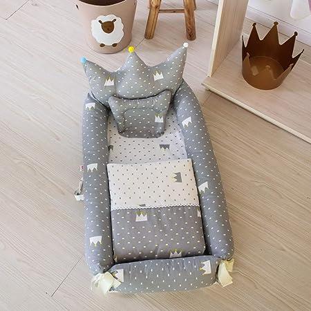 Miyanuby Cama Nido Bebe   Forma de la Corona de Cama de Bebé   Cuna de Viaje Portátil   Bebé Desmontable Cocoon Pod Dormir   Cuna de Bebe + Edredon + Almohada - 3PCS