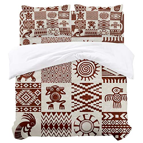 (KAROLA King Duvet Cover Set,Soft Comforter Sets-National Pattern Retro Totem Frog Tortoise Bird Sun(92 by 106 inch),Luxury Bedding,Duvet Sets with Zipper Closure and Corner Ties)