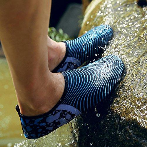 antideslizante piel azul aire el cuidado correr deportivos libre de Lucdespo tesoro en de playa descalzo calzado Natación zapatos la buceo S15 los la al cintas zapatos qw6tCS