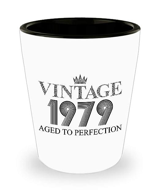 Vaso de chupito vintage 1979 - 40 cumpleaños blanco mini ...