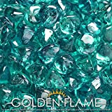 Golden Flame 10-Pound Fire Glass 1-Inch Caribbean Blue Reflective Fire-Diamonds