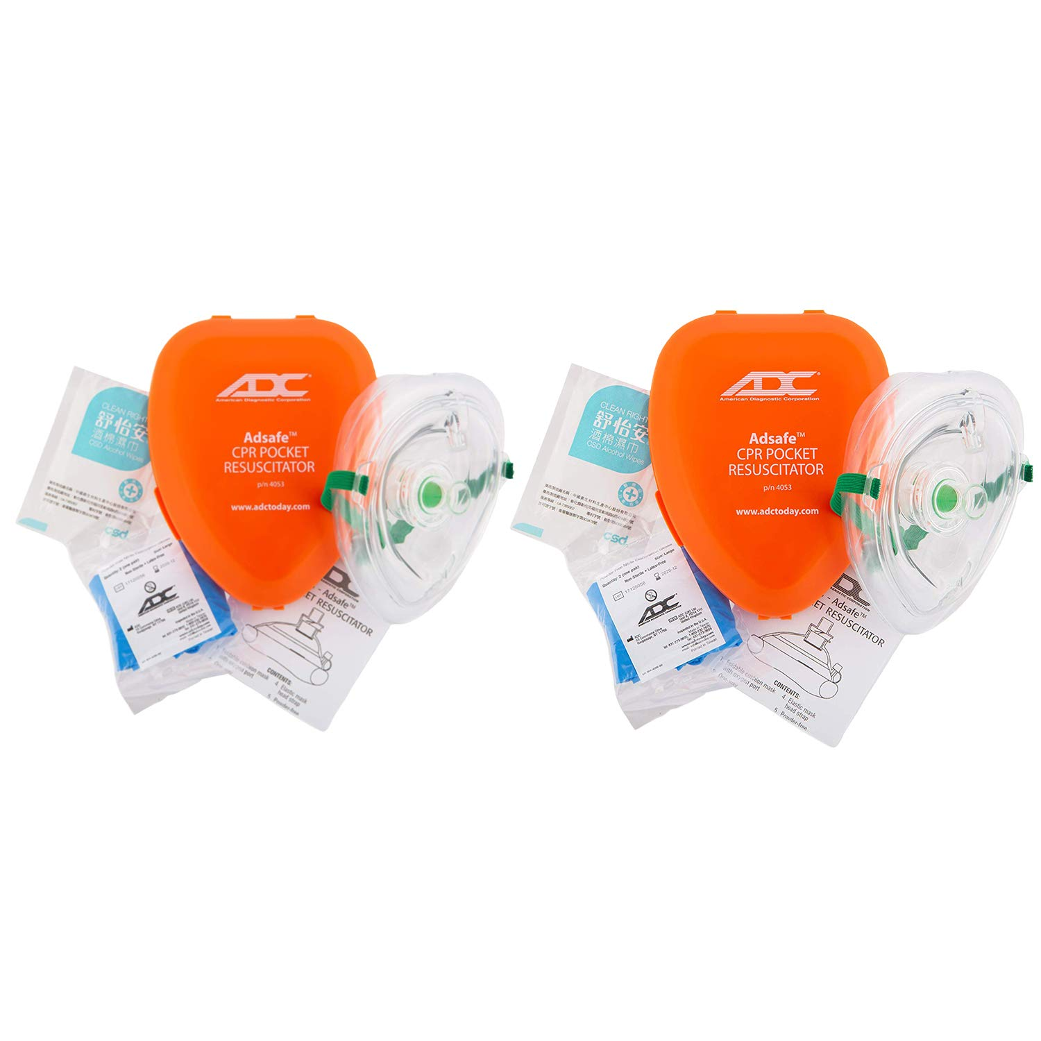 ADC Adsafe CPR Mask Pocket Resuscitator Kit; 3M Filtrete Filter with Replaceable Valve, Disposable Non-Latex Gloves, and Alcohol Wipe; 2 Kits