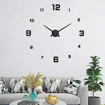 UBAYMAX Reloj de Pared DIY, Espejo 3D sin Marco Moderno Gran Reloj, Pegatinas de Pared muda extraíble Relojes para Sala de Estar Dormitorio decoración del ...