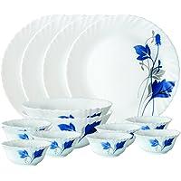 Larah By Borosil Opalware Dinner Set, 14-Pieces, White