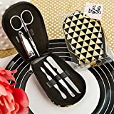 56 Modern Geometric Design Shiny Black and Gold Manicure Sets