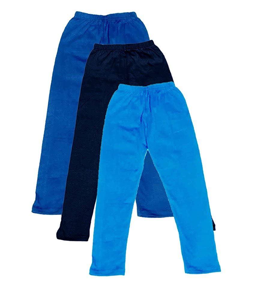 -Multiple Colors-11-12 Years Indistar Big Girls Cotton Full Ankle Length Solid Leggings Pack of 3