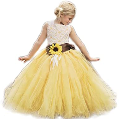49bcb7b0490 AnnaLin Yellow Tulle with Sunflower Belt Flower Girl Dress for Wedding  Party First Communion Dress for