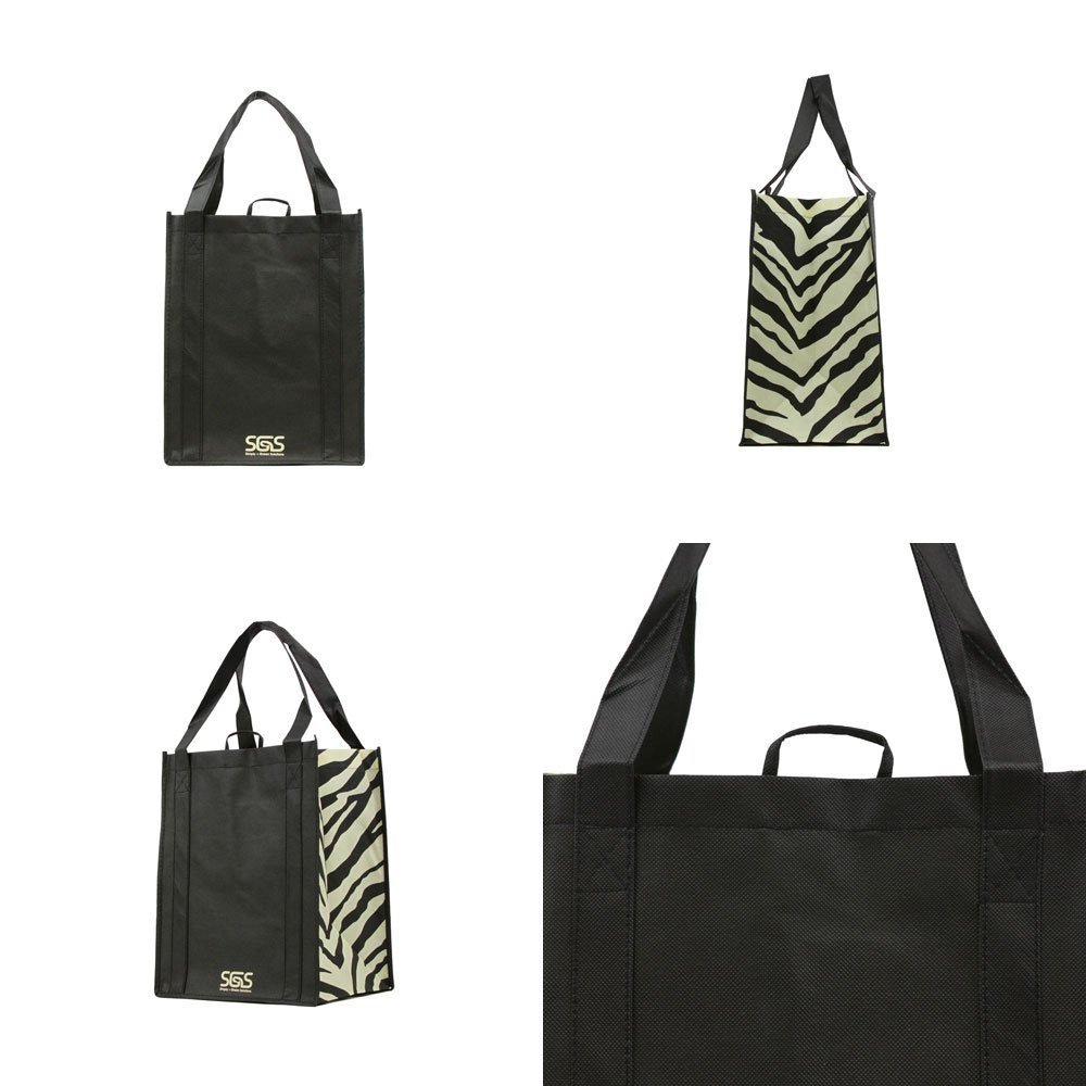 Animal - Graphic Pattern Prints - Reusable Reinforced Tote Bags - Set of 4 by Simply Green Solutions (Image #2)