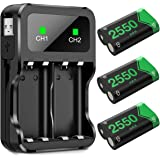 Battery Pack for Xbox One Controller/Xbox Series X/S, BEBONCOOL 3-Pack 2550mAh for Xbox One Controller Rechargeable Battery P