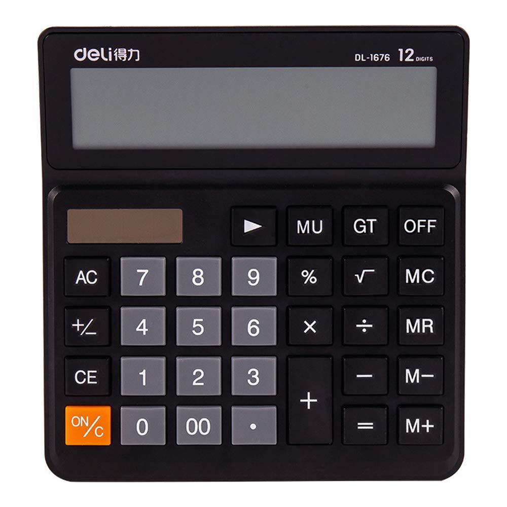 Desktop Calculator, Large Button Office Calculator, 12-Digit Display Screen Solar Dual Power Battery Calculator ZDDAB