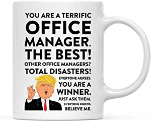 Andaz Press 11oz. Funny President Trump Coffee Mug Gag Gift, Office Manager, 1-Pack, Includes Gift Box, Christmas Birthday Graduation Novelty Drinking Cup Gift Ideas