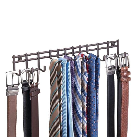 mDesign Perchero de pared - Práctico colgador de cinturones y corbatas - Corbatero para colocación en pared, también para cinturones, toallas, ...