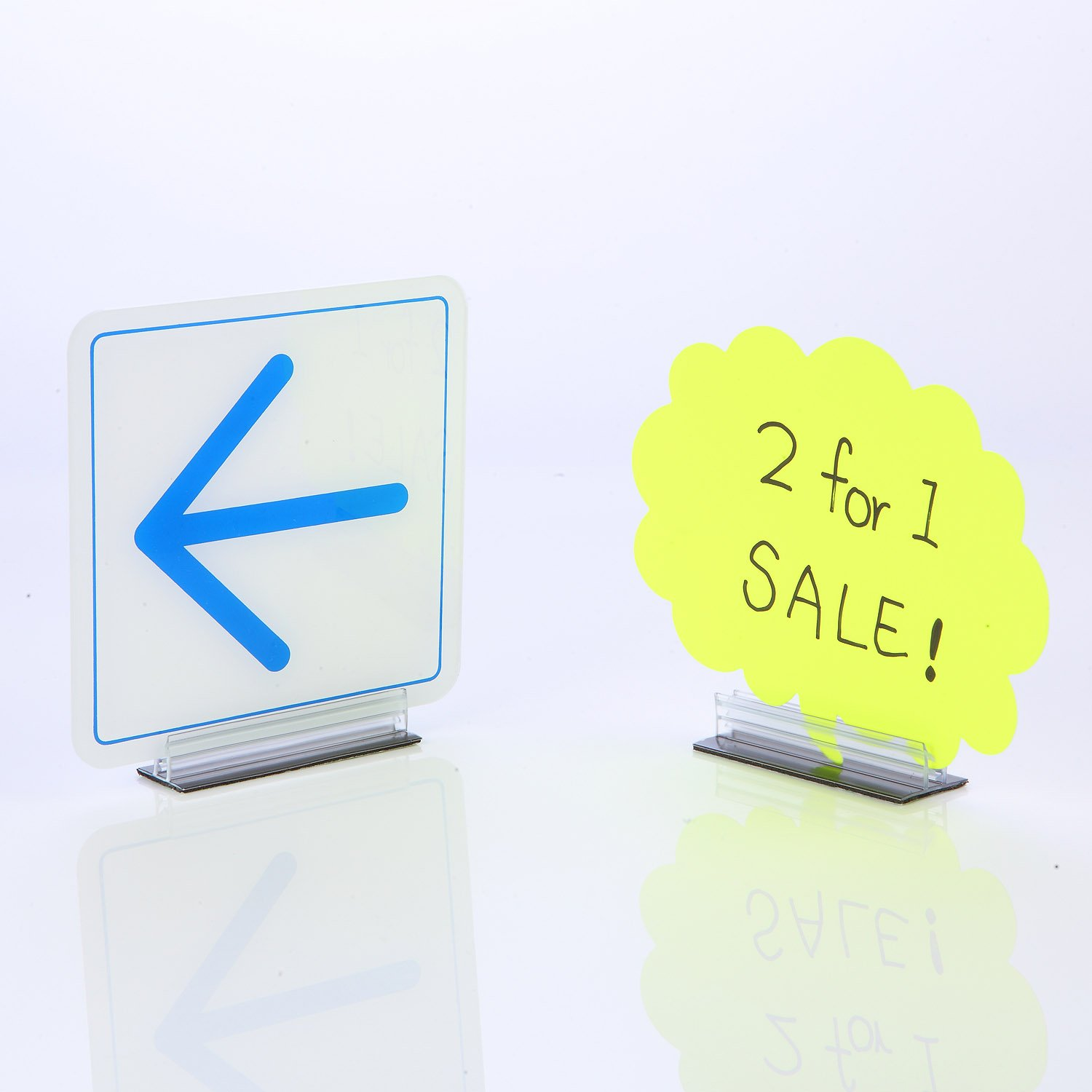 Pack of 100 KYC Plastic Retail Store Fixtures Aisle Shelf Edge Sign Holder 1x 3 T-Style Grip with 3M Adhesive Back
