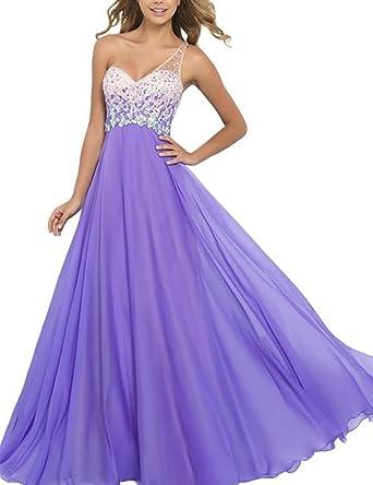 Zhu Li Ya Womens Long Prom Dresses One Shoulder Chiffon Formal Evening Dresses Lilac 2