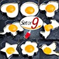 PNBB 8pcs Different Shapes Stainless Steel Fried Egg Molds with 1pc Silicone Pastry Brush - Set of 9
