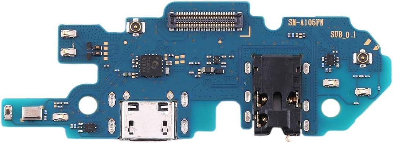 Compatible para Samsung Galaxy A10 SM-A105FN Plano Flexible Sub Tablero Muelle USB Jack Circuito Subir Conector Volver a Cargar + Micrófono Sync Datos + Porta Entrada Jack Auriculares Headset