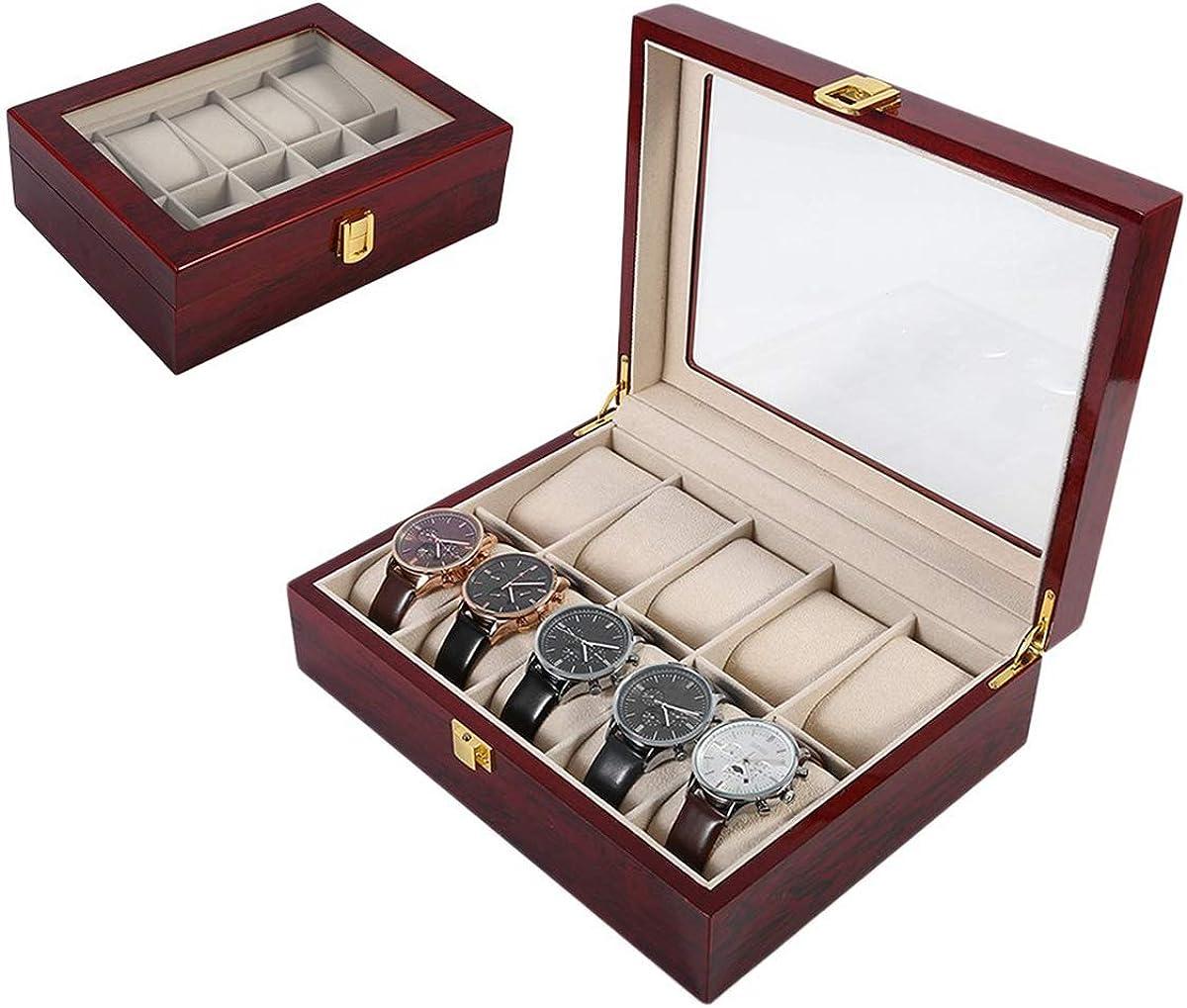 Legno/Cuoio Mesh vigilanza dell\'esposizione di sicurezza robusta staffa Jewelry Collection Storage Box Guarda Accessori Wt840200