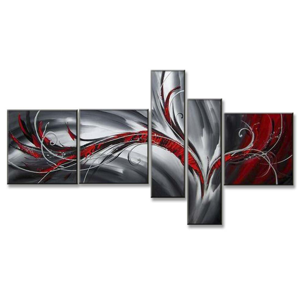 Hand Painted Split Canvas Paintings Unframed 5 Pieces - 76X40 inch (193X102 cm) for Living Room Bedroom Dining Room Wall Decor To DIY Frame Home Decoration - Lolo Abstract by Neron Art