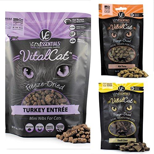 Vital Essentials Freeze Dried Raw Cat Food, Cat Treats Bundle, includes: 1-12 oz. Bag of Turkey Mini Nibs, 1-1.1 oz. Bag Ahi Tuna, 1 - .9 oz. Bag Duck Liver. 1 Entree, 2 Treats. Fast Delivery!!! by Vital Essentials