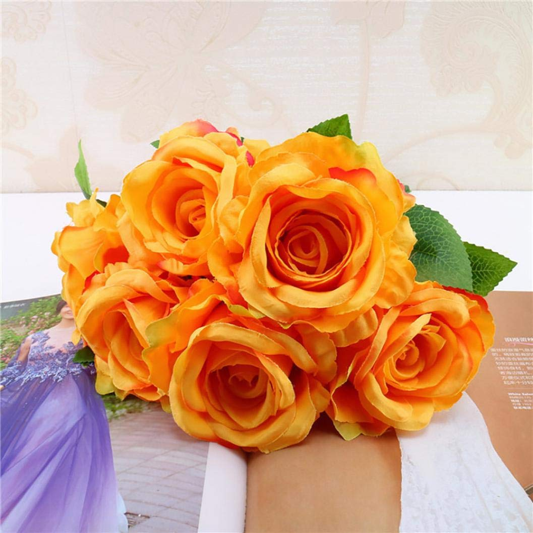 Artificial Flowers, MaxFox Fake Silk Rose Bouquet Vintage Flower Bouquets Home Office Wedding Party Decor (Orange) by MaxFox (Image #2)