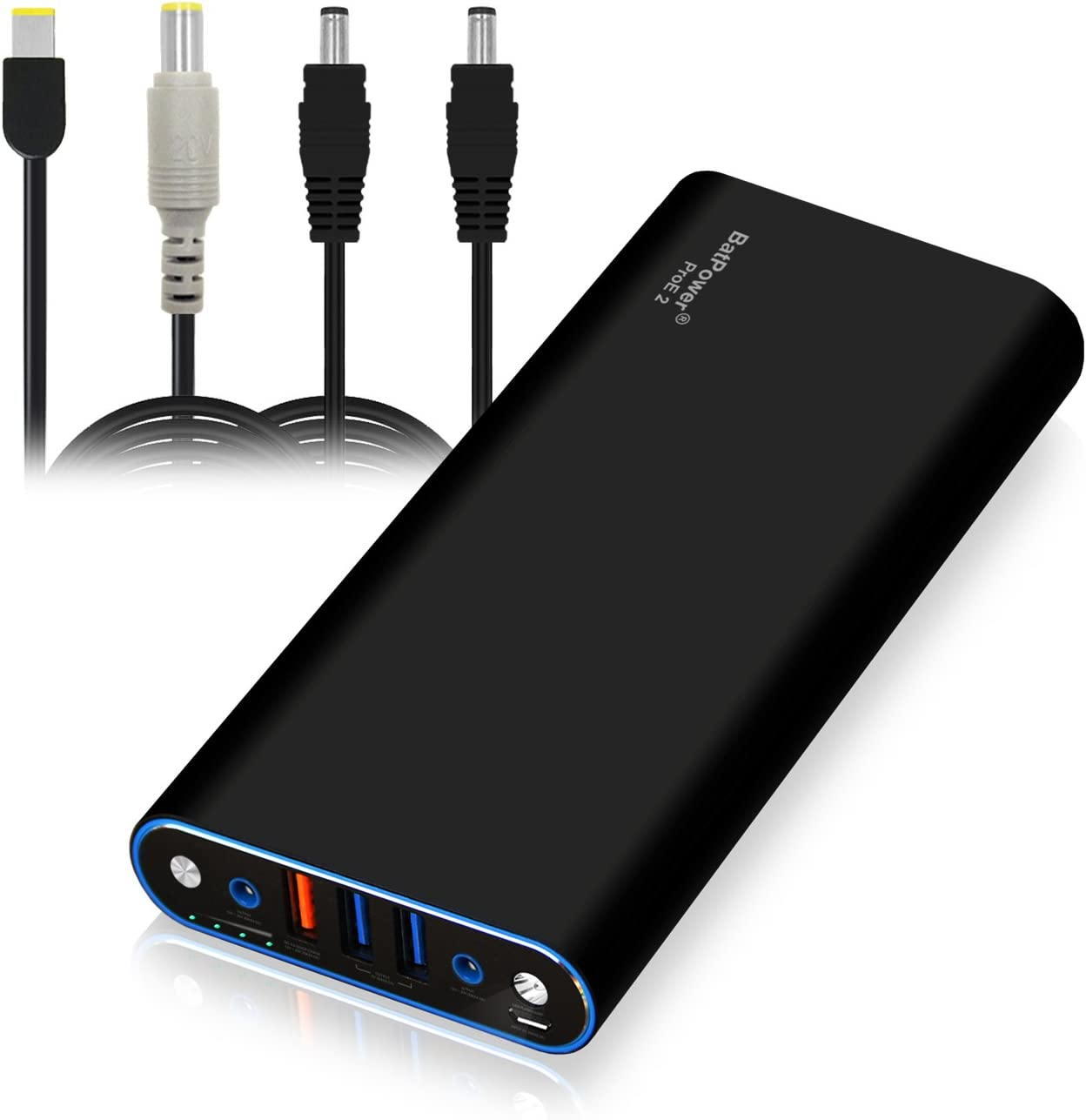 BatPower EX10L 148Wh Laptop Portable Charger Power Bank for Lenovo ThinkPad Carbon Ultrabook IdeaPad Helix Flex Yoga Notebook (Rectangle or Circular Connector) USB QC Charge for Tablet Smartphone