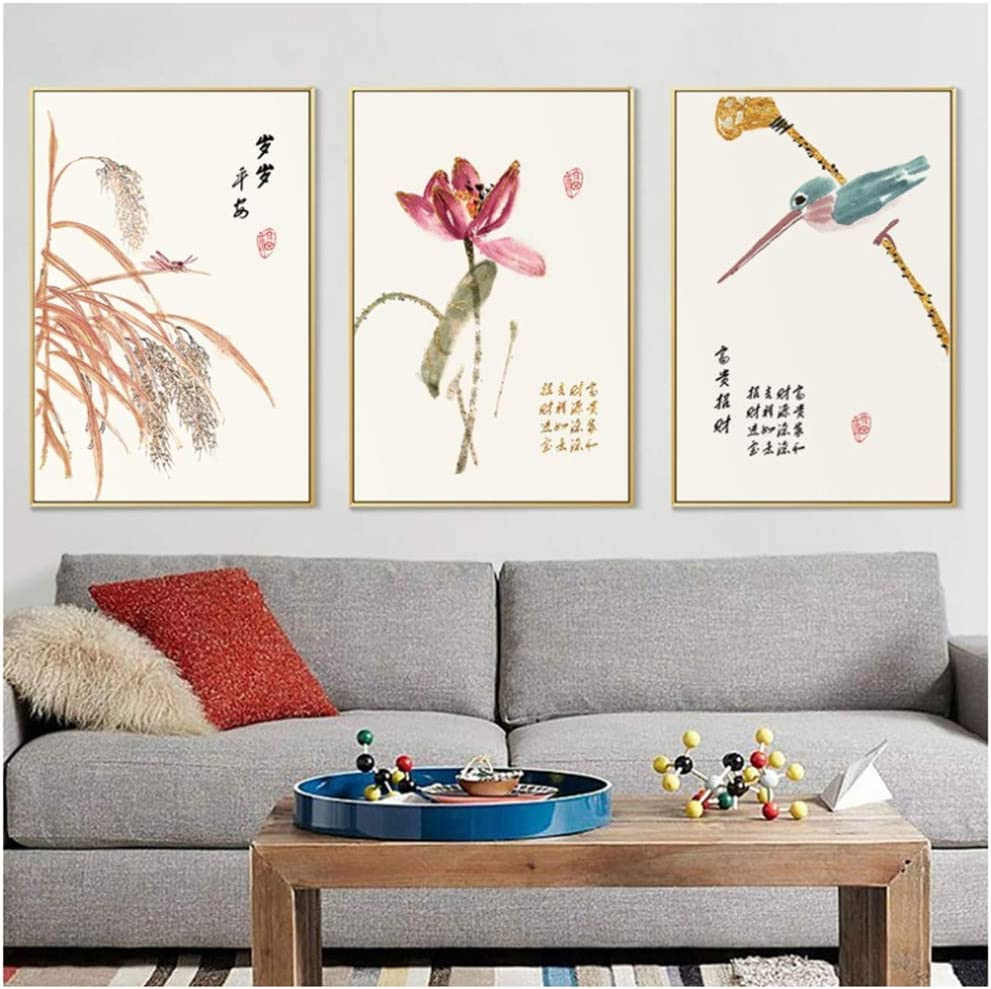 ZHANGPENGBOFBH Estilo Chino nórdico decoración del hogar Arte Cartel Flor y pájaro Lienzo Pintura Paisaje Pared Cuadros para Sala de estar-50x70 cm sin Marco