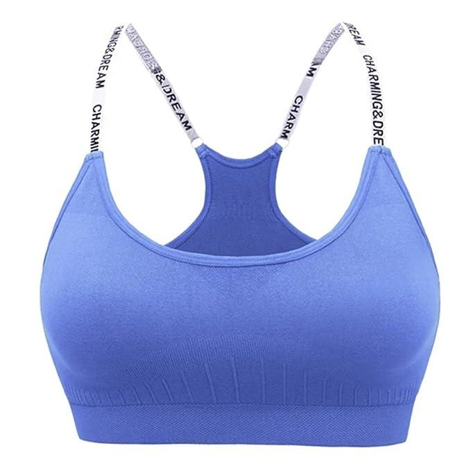 Dunland Mujer Sujetador Deportivo de Corriente Ajustable de Alto Impacto Sin Aros para Yoga Gimnasio Aptitud Fitness: Amazon.es: Ropa y accesorios