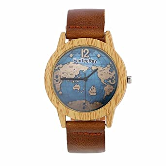 Amazon minilujia bamboo wooden color world map watch women minilujia bamboo wooden color world map watch women wrist watches soft comfortable mens watch brown gumiabroncs Images