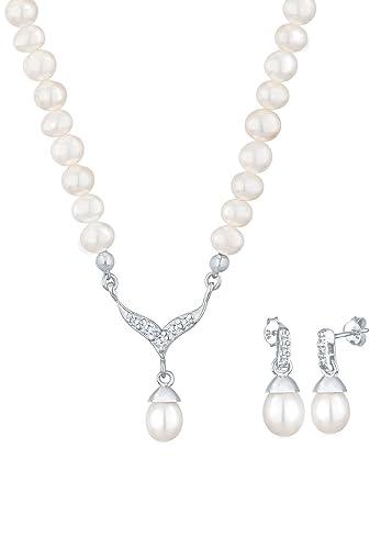 Brautschmuck swarovski kristallen  PERLU Damen Schmuck Schmuckset Halskette + Ohrringe Perle ...