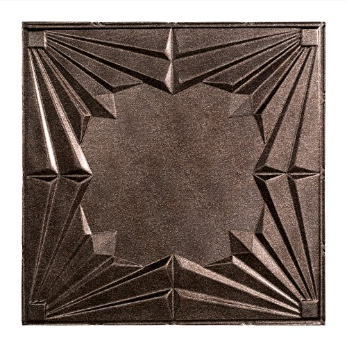 FASÄDE - Easy Installation Art Deco Smoked Pewter Lay in Ceiling Tile/Ceiling Panel (2' x 2' Tile)