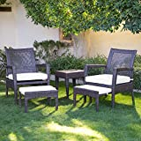 Cheap AURO Brisbane Outdoor Furniture | 5-Piece Lounge Chair & Ottoman | All-Weather Brown Wicker Conversation Set Chat Seating with White Olefin Cushioned Sofas & Side Table | Patio, Backyard, Pool, Porch