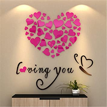 amazon com amiley wall stickers bling love heart diy removable