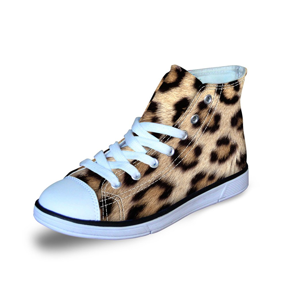 FOR U DESIGNS Cool Animal Fur Leopard Print Brown Canvas High Top Shoes for Childen Lace-up US 12.5