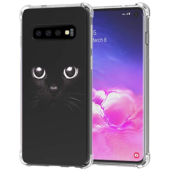 Galaxy S10 Case, Ailiber Black Cat White Eyes Cute Animal Gato Thin Light Design Shock Absorption Soft TPU Bumper Protective Cover for Samsung Galaxy ...