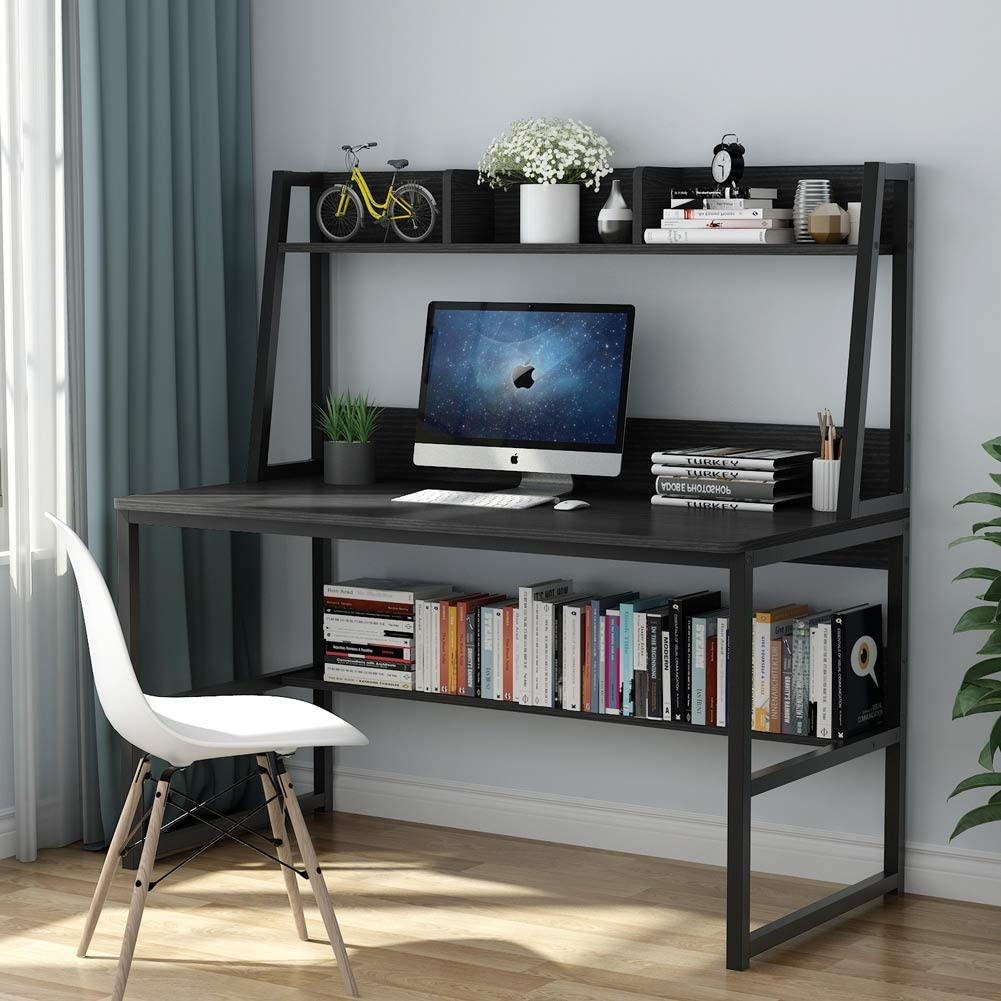 Tribesigns Computer Desk with Hutch and Bookshelf, 32 Inches Home Office  Desk with Space Saving Design for Small Spaces (Black)