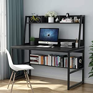 Tribesigns Computer Desk with Hutch and Bookshelf, 47 Inches Home Office Desk with Space Saving Design for Small Spaces (Black)