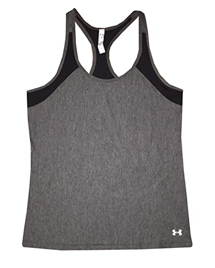 Women's Under Armour HeatGear Alpha Tank, Carbon Heather/Black, X-Large