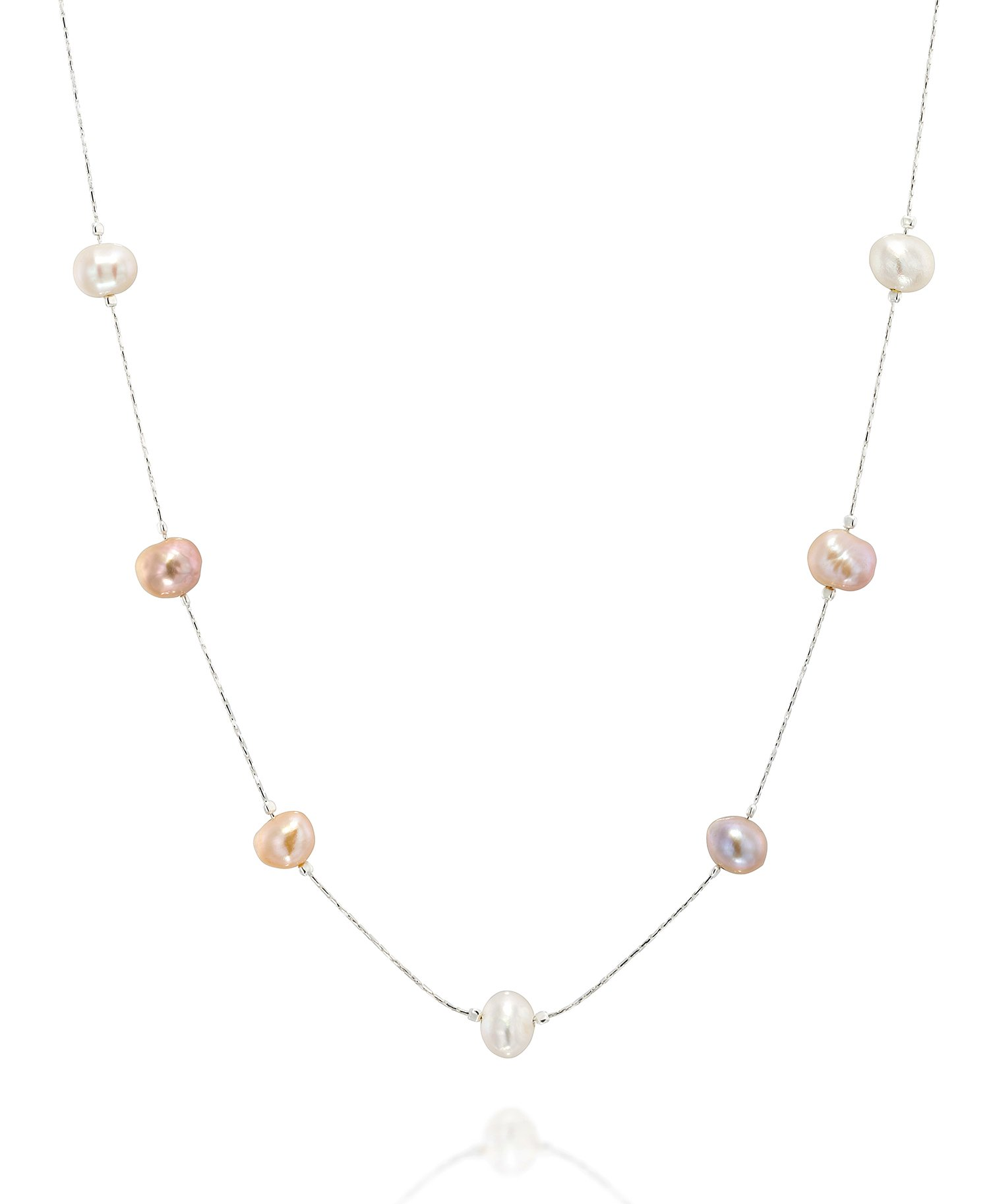 Multi Color Cultured Pearl Station Necklace Made with 925 Sterling Silver Chain, 18'' + 4'' Extender